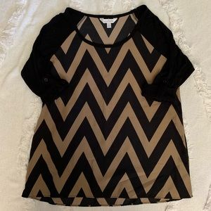 Charming Charlie Roll-Sleeve Top - Size Small